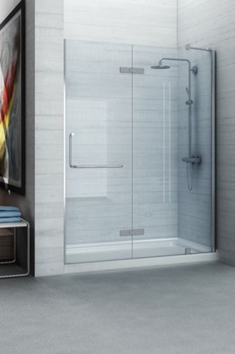 "The Leslie, by New Waves, is a beautiful contemporary rectangular shower with a 10mm (3/8 in.) thick tempered glass surround, standing on an acrylic ""anti-skid"" base."