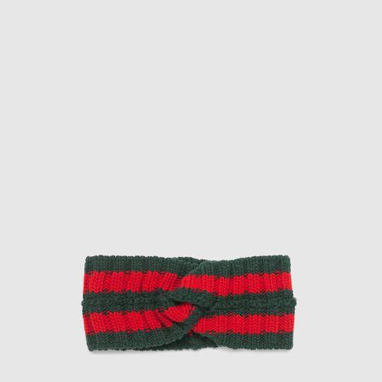 Gucci Fascia per capelli in lana con dettaglio Web