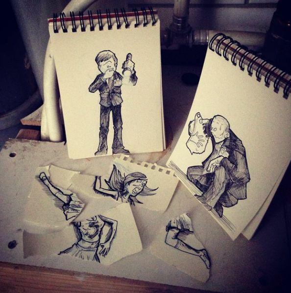 Troqman - Cet artiste fait interagir son carnet de croquis avec le monde réel