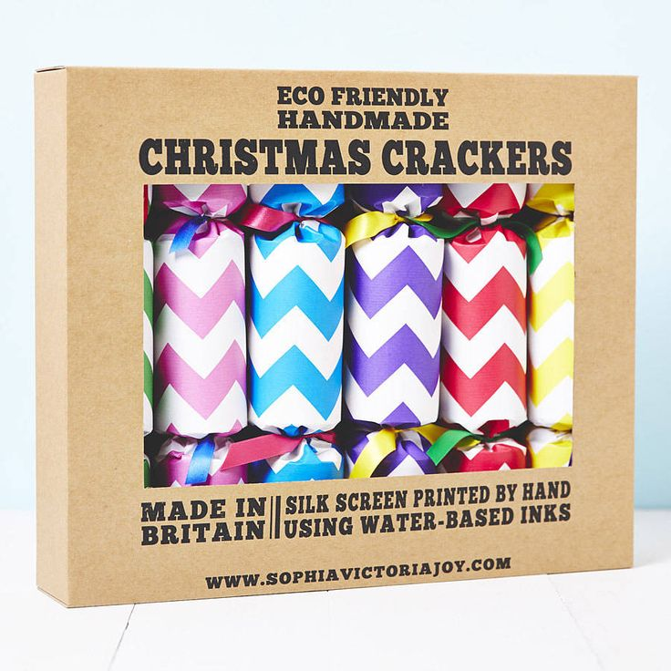 recycled chevron christmas crackers by sophia victoria joy | notonthehighstreet.com