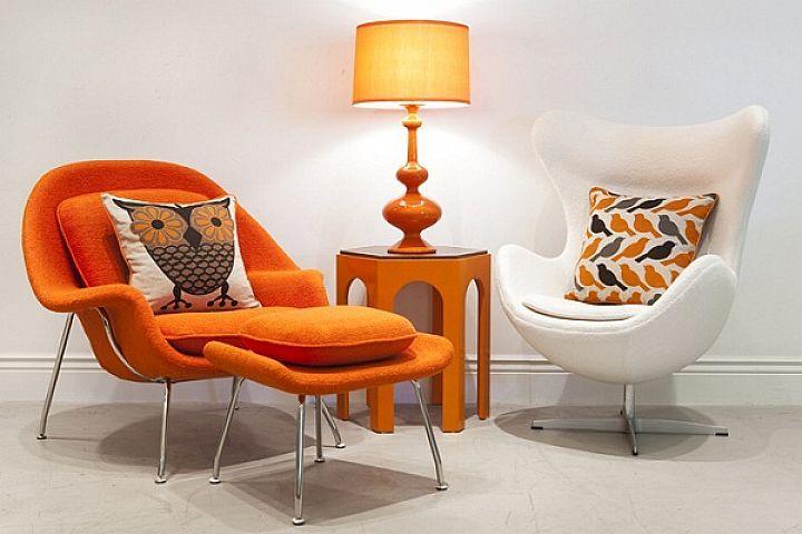 mid century modern chairs white and orange