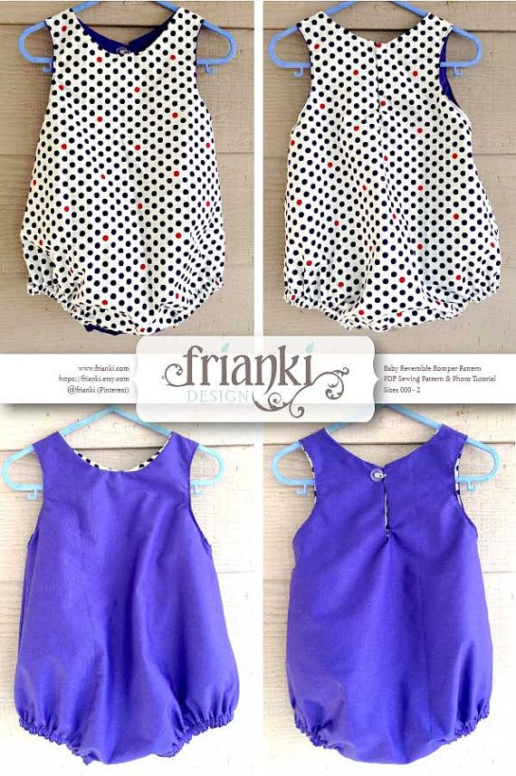 Baby Reversible Romper PDF Sewing Pattern and Photo by Frianki