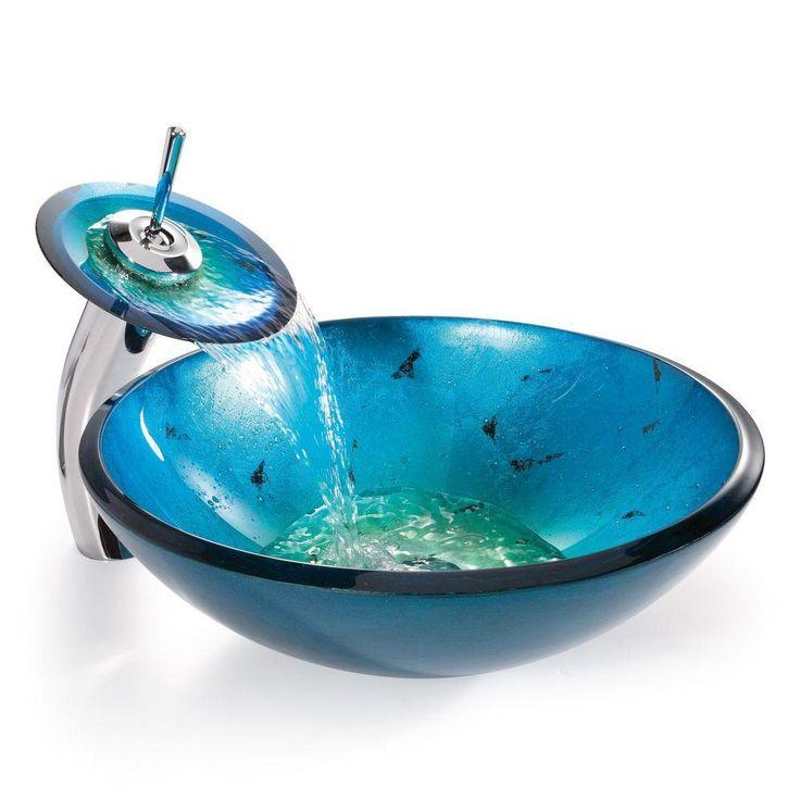 Irruption Glass Vessel Sink in Blau mit Single Hole Einhand-Low-Arc Wasserfall Wasserhahn in Chrom