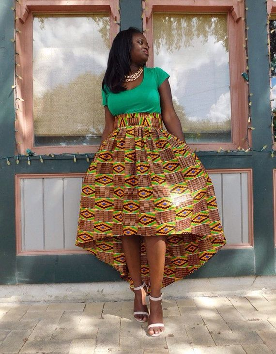 Kente Fabric Hi Low Skirt African Clothing by MsAlabaAfricanShop