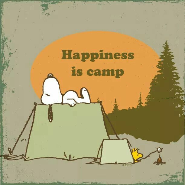 Happiness Is Camp - Snoopy Sleeping On Top of Tent and Woodstock in His Tent…