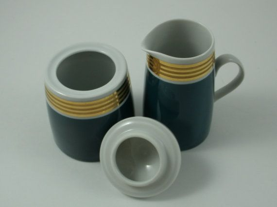 East Germany Lichte Fine China Teal Gold Gilt by SuzquisTreasures