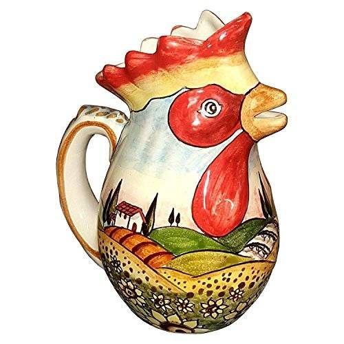 CERAMICHE D'ARTE PARRINI- Ceramica italiana artistica , brocca vino ,decorazione paesaggio girasoli , dipinto a mano , made in ITALY Toscana