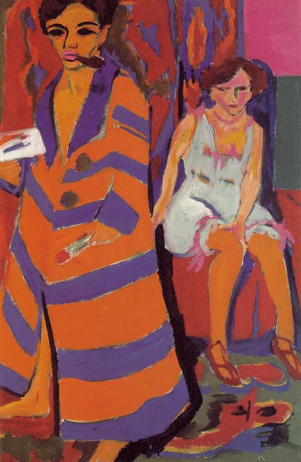 """Kirchner : """"Self"""". I think he plays with colour in a pattern. I'd also call it: Composition of patterns."""