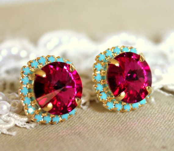 Pink turquoise Stud earrings Rhinestones Crystal big pink - 14k plated gold post pink turquoise mint earrings real swarovski rhinestones .