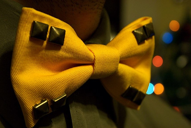 #yellow bow tie with studs