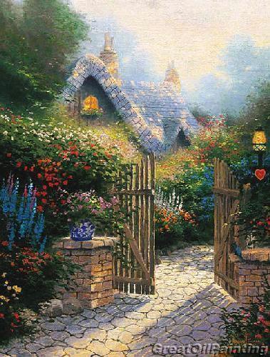 Thomas Kinkades Hidden Cottage - to me, this is heaven!