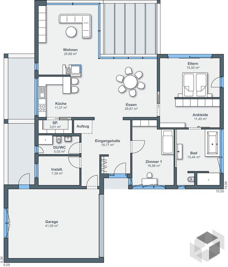 Bungalow mh mannheim von weberhaus flachdach floor for Smallhouse weberhaus