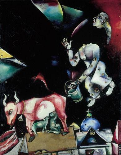 """"""" A la Russie, aux ânes et aux autres"""" - Marc Chagall- Collections permanentes- Centre Pompidou"""