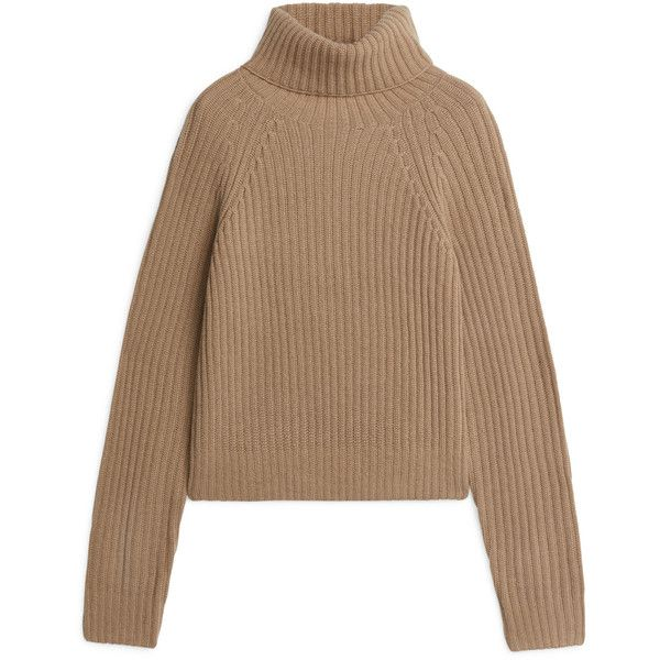 Cashmere Roll-Neck Jumper ($125) ❤ liked on Polyvore featuring tops, sweaters, brown cashmere sweater, jumpers sweaters, crop tops, cut-out crop tops and cashmere sweater