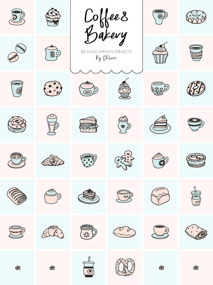 Coffee&Bakery 80 hand drawn objects by chloe on @creativemarket