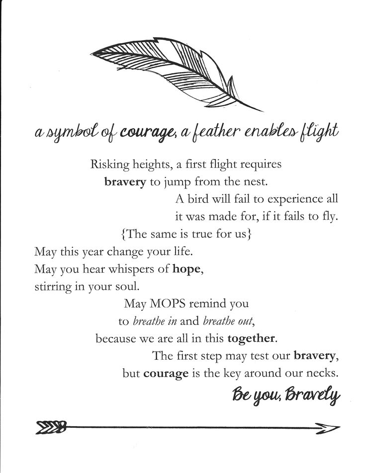 A printable explaining the significance of the feather that is used throughout the Be You, Bravely MOPS theme.