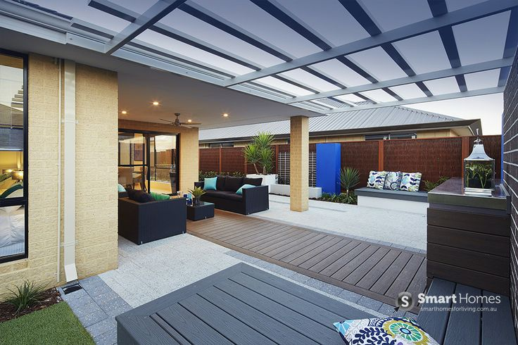 modern patio alfresco design with pergola #patio #alfresco #outdoors #smarthomesforliving