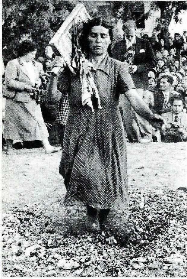 Anastenaria (the day of Santa Elena) is a traditional fire-walking ritual performed in some villages in Northern Greece. Photo 1950's