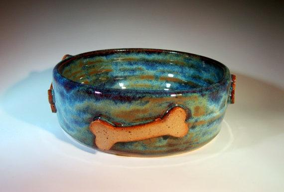 Pottery Dog Bowl Food Dish Handmade By