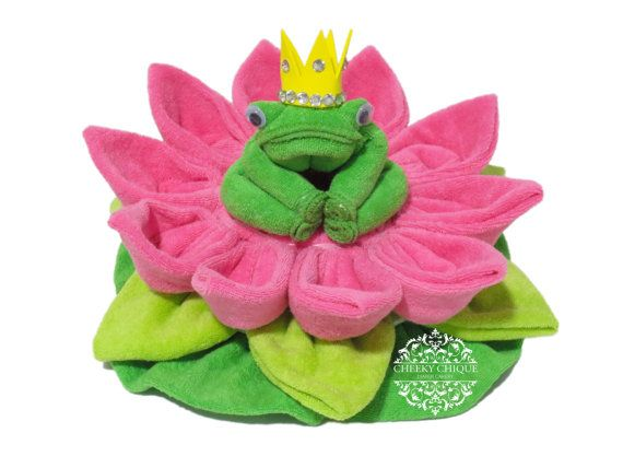 12CT Washcloth Frog Prince, Princess, Diaper cake, Baby Shower, Centerpiece, Decoration, Pond Critters, Water Lily, Lilypad, Frog, Dragonfly...