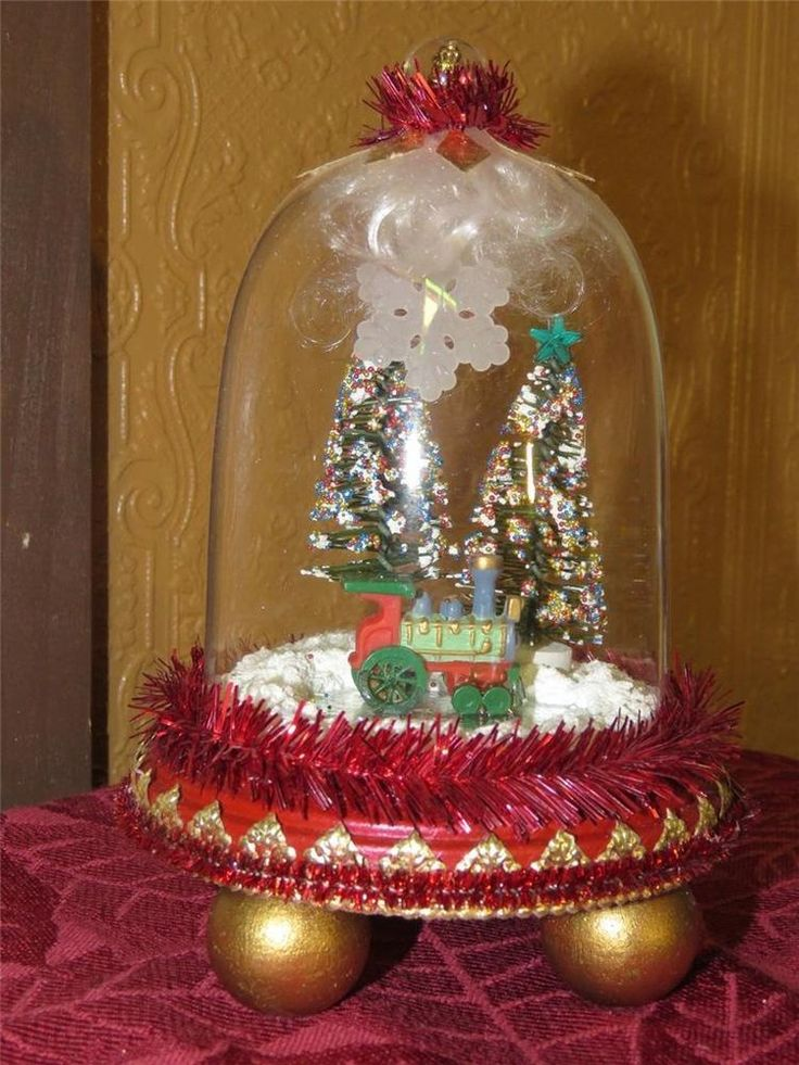 SNOW GLOBE WITH VINTAGE MINIATURE LOCOMOTIVE/ BOTTLE BRUSH TREES