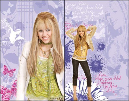 "Blue Mountain Wallcoverings 31720503 Hannah Montana 2-Piece Wall Art. Hannah Montana Photo Art-2-11.5""w x 18""h. Removable, repositionable, reusable. Self-stick wall applique. Just peel and stick. Won't harm walls."