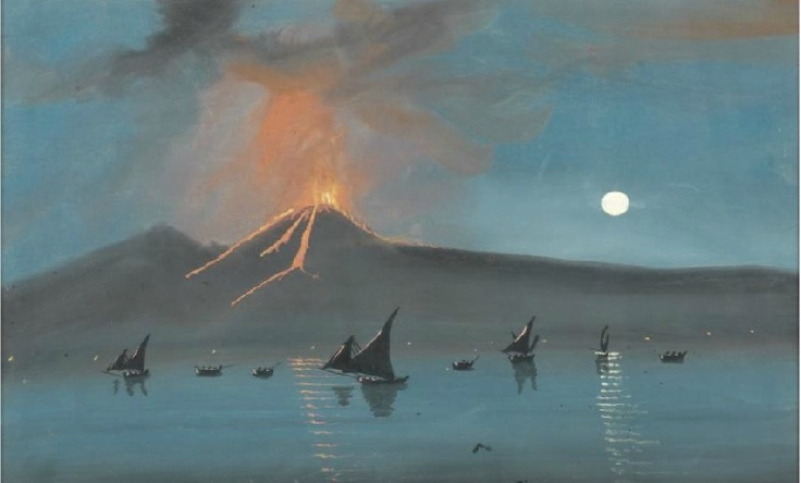 Anon., Vesuvius Erupting at Night, c.1920, gouache on paper