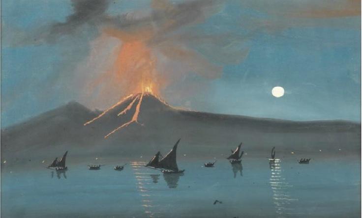 Anon., Vesuvius Erupting at Night, c.1920, gouache on paper