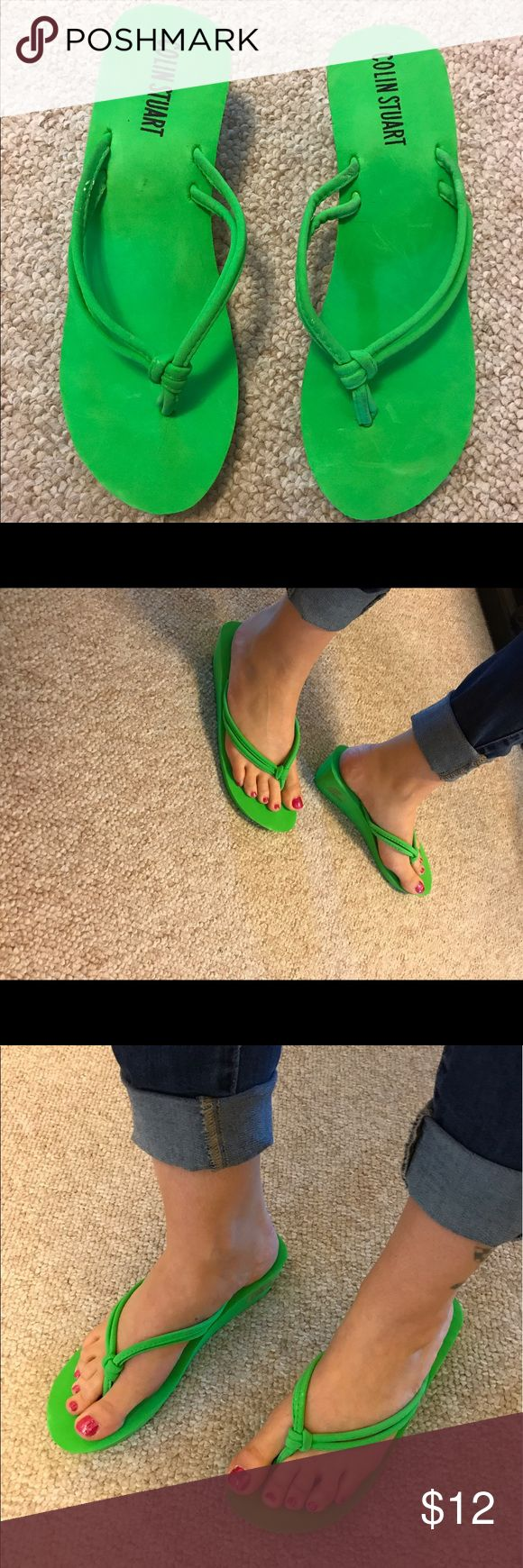COLIN STUART Neon Green Wedge Flip Flops Size7.5 COLIN STUART Neon Green Wedge Flip Flops Size7.5   Great Color!! Very comfy & cute...Never Worn, still has tag stickers!! Small pin dot discoloration on strap. Thanks for looking!' Colin Stuart Shoes Sandals