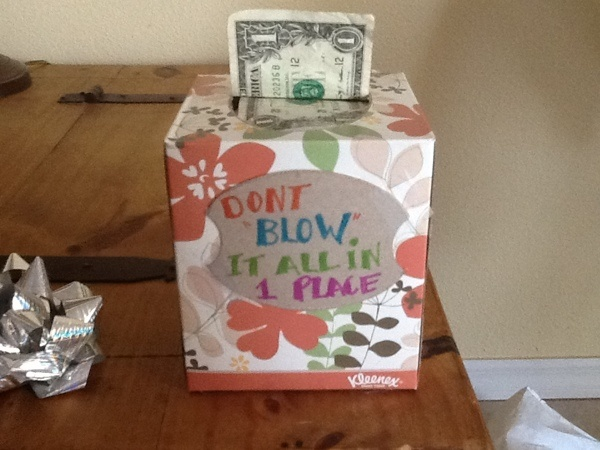 20 dollar bills taped end to end and tucked into a tissue box. Great gift for a 12 year old girl.