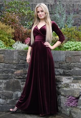 CHRISTMAS PARTY DRESS EVENING MAXI DRESS VELVET BURGUNDY