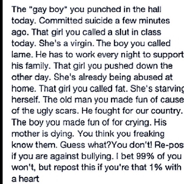 This is a message to those bullies out there. This is what really happens!!!