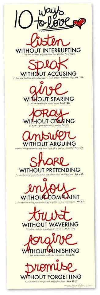 10 ways to love...