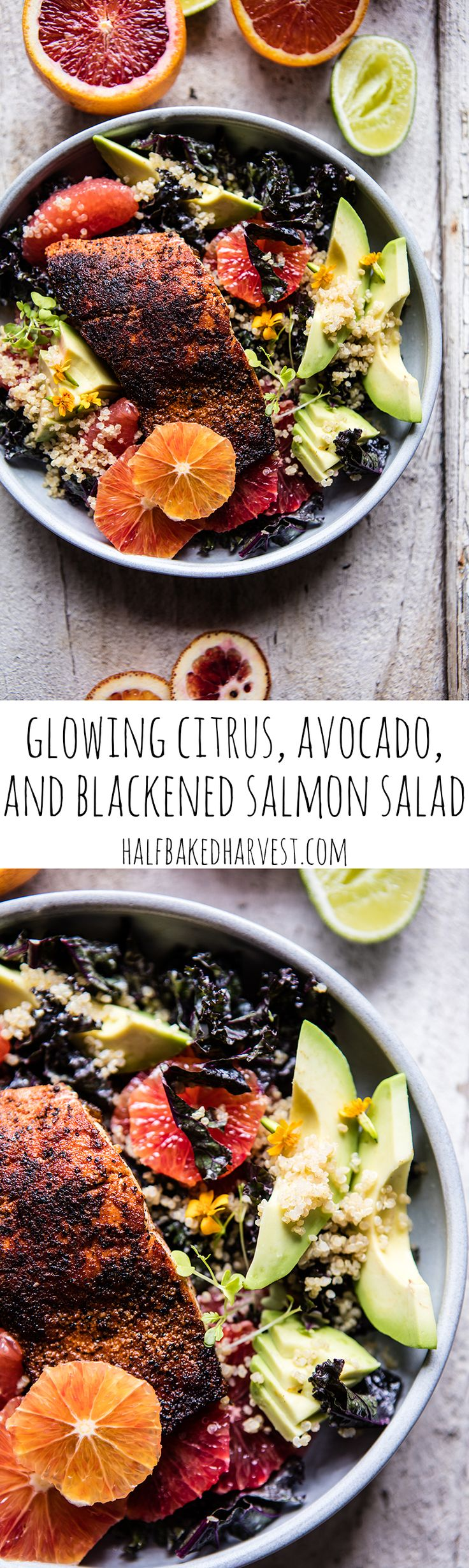 Glowing Citrus, Avocado, and Blackened Salmon Salad | halfbakedharvest.com @hbharvest