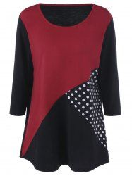 Plus Size Polka Dot Trim Tee in Black And White And Red | Sammydress.com Mobile
