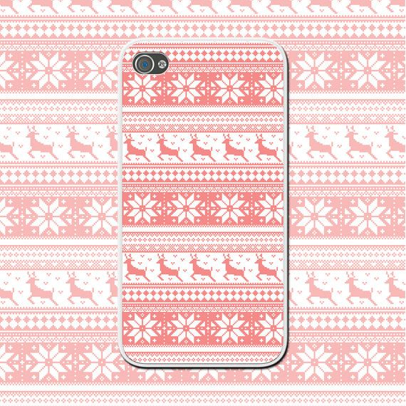 Pink Winter Reindeer (02) - Cute iPhone Case for iPhone 4/4s, iPhone 5/5s - iPhone Cover - Pink Snowflake - Christmas Gift - Pink iPhone by NouveauGypsyDesigns, $10.00