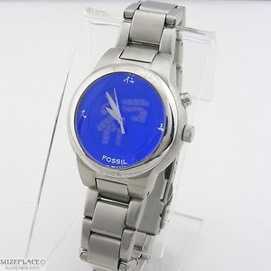 "Fossil Big Tic ""Luck"" Watch with Blue Dial SuzePlace.com"