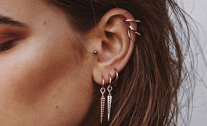 piercing oreille, cheveux marron, anneau pour oreilles, piercing tragus, piercing femme