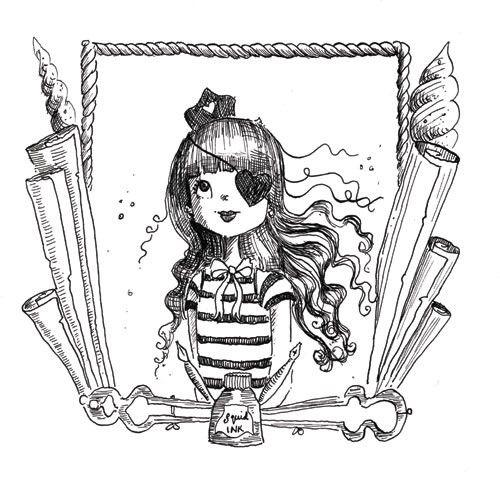Erica Jane Waters Illustration - erica jane waters, fiction, commercial, tween, teen, teenagers, black and white, black line, black and white line, people, girls, girly, pirates, woman, women, captain
