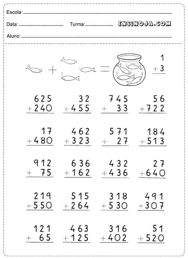 Atividades de matemática para os alunos do 3° ano do ensino fundamental, adição e subtração. AsAtiv