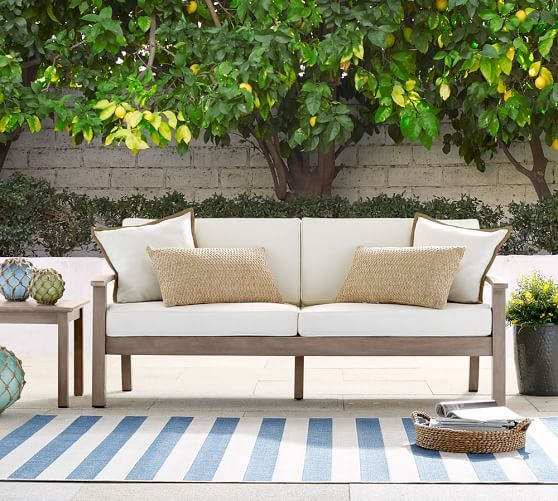 Crafted by skilled artisans from FSC  mahogany  our Chatham Sofa is an  eco friendly choice for your outdoor living space 139 best Patios   Porches images on Pinterest   Outdoor living  . Outdoor Living Room Furniture. Home Design Ideas