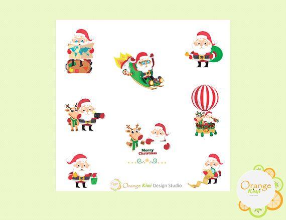 Santa Stickers Vacation Santa Stickers Christmas Planner