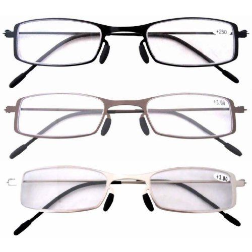 Eyekepper 3 Pairs Mix(1 Pair per Color) Reading Glasses +1.00. Frame: 136 millimeters. Brige: 21 millimeters. Integrally Molded Design for Frame, Without Solder. Patent Design, Lightweight Stainless Steel Frame,48-21-140mm. Arm: 140 millimeters. Extremely Lightweight, Sleek, Durable and Comfortable Stainless Steel Frame Construction. Thin Metal Frame. Patented Design, Patent No.:ZL 2009 2 0350569.5. Lens height: 23 millimeters. Lens width: 48 millimeters.