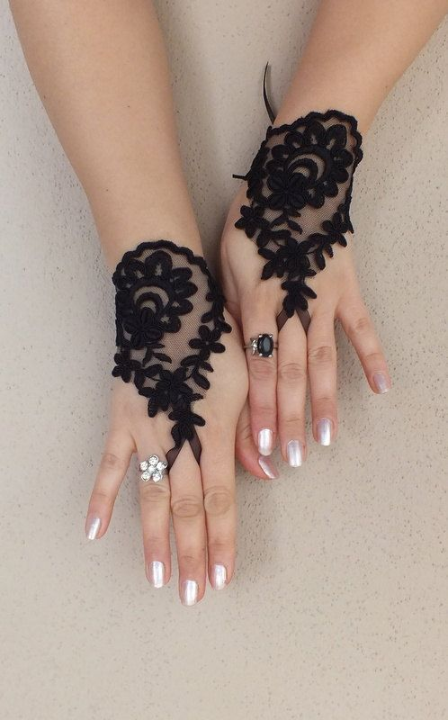 Black lace glovelet french lace bridal gloves lace by ByVIVIENN