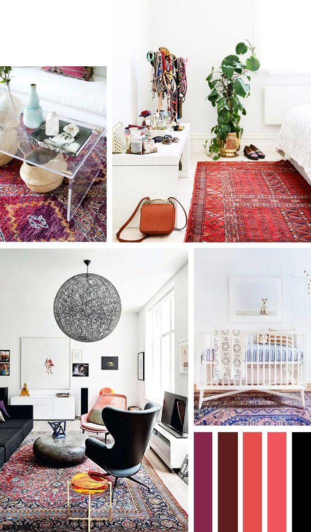 ... : kleurig Perzisch tapijt met een monochroom interieur - Roomed