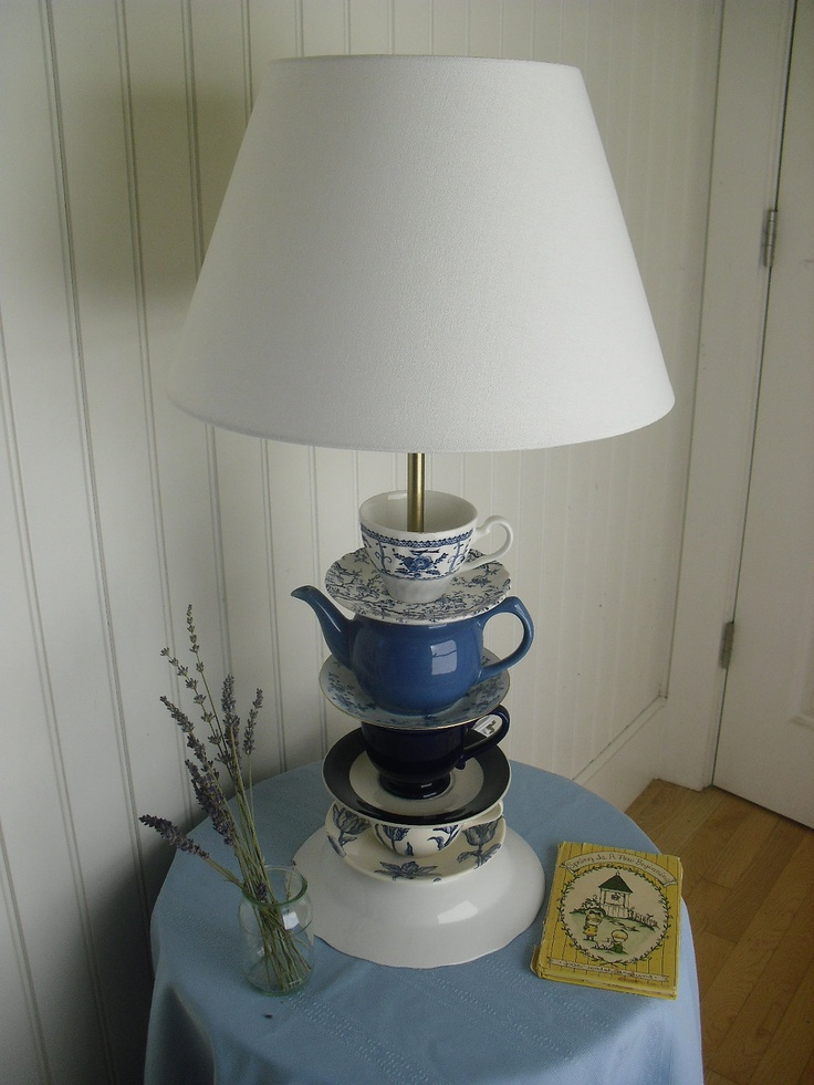 Four Blues Teacup Lamp with French Blue Teapot | Lighting ...