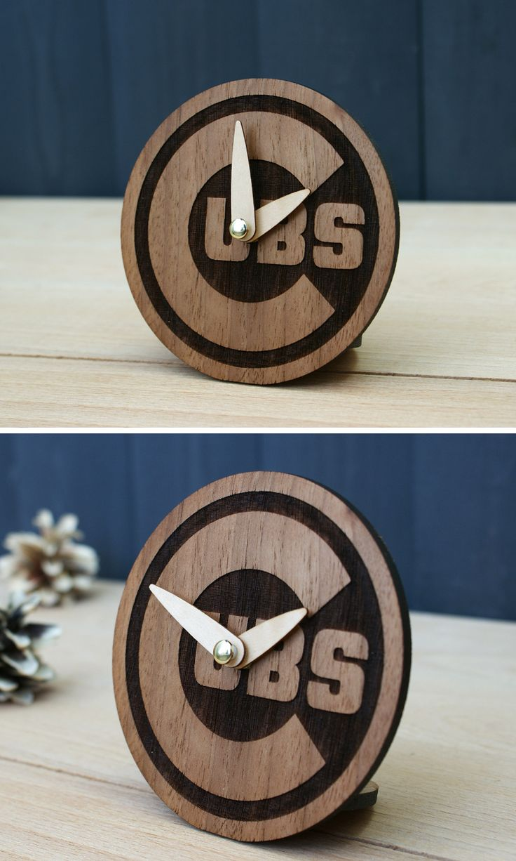 Chicago Cubs gift baseball wooden desk clock fan cubs world series ornament home decor birthday vintage art men friend boyfriend him husband