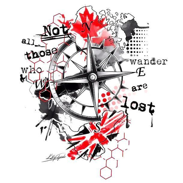 Not All Those Who Wander Are Lost Tattoo Men Not All Those Who Wander Are Lost Trash Polka Tattoo Design Style Trash Polka Color Red Trash Polka Tattoo Trash Polka Tattoo Designs Trash Polka