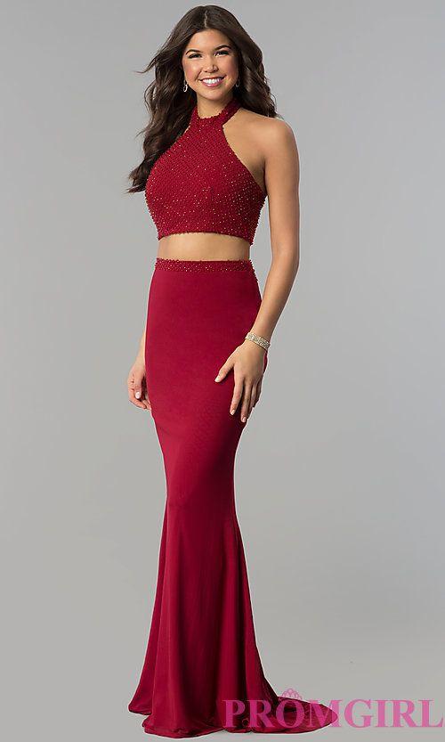 e0d3ecacdb0 Long Two-Piece High-Neck Burgundy Jolene Prom Dress