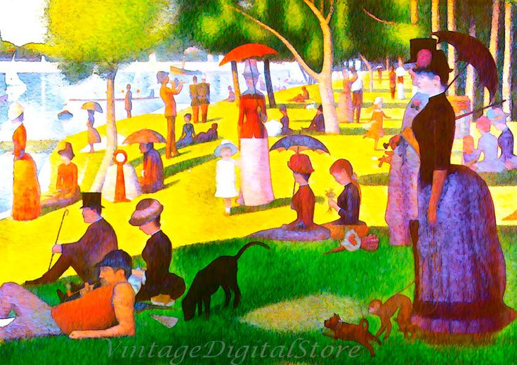 Sunday walk on the island of La Grande Jatte, digital file Download for wall decor, photo printing on canvas, fabric or paper. by VintageDigitalStore on Etsy